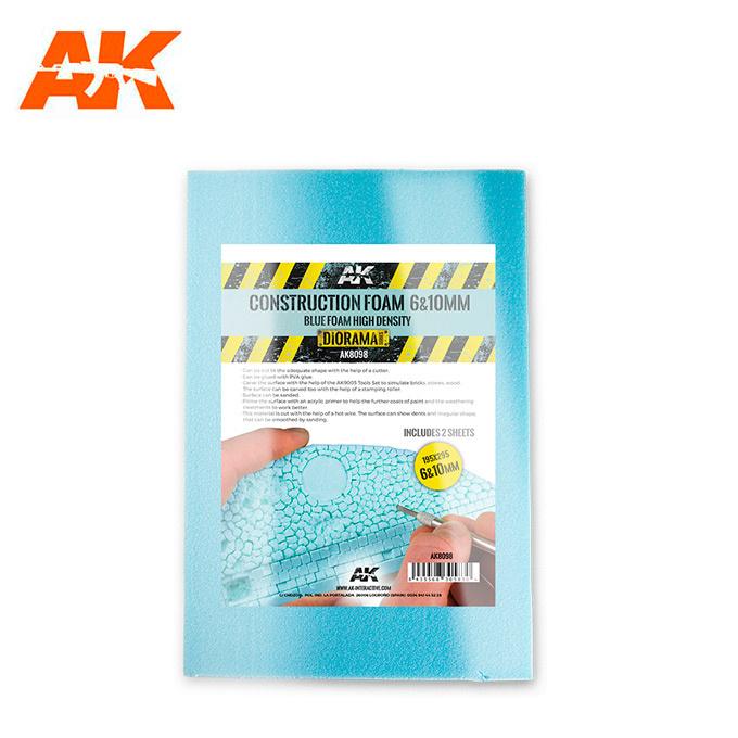 AK-Interactive Construction Foam 6&10Mm - Blue Foam 195 X 295 Mm (2 Sheets) - AK-Interactive - AK-8098