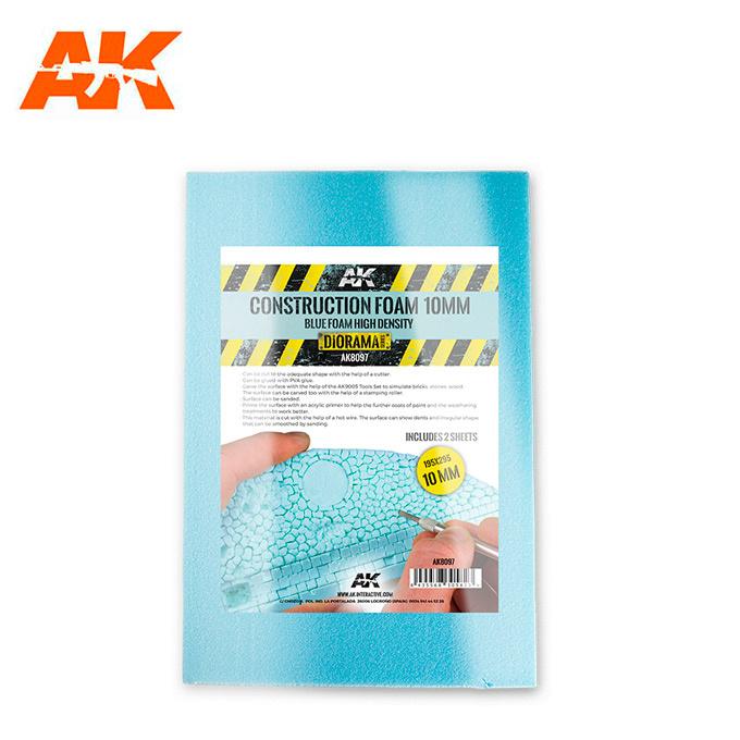 AK-Interactive Construction Foam 10Mm - Blue Foam 195 X 295 Mm (2 Sheets) - AK-Interactive - AK-8097