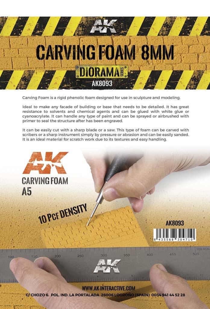 AK-Interactive Carving Foam 8 Mm A5 Size (228 X 152 Mm) - AK-Interactive - AK-8093