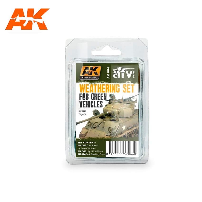AK-Interactive Green Vehicles Weathering - set - AK-Interactive - AK-064
