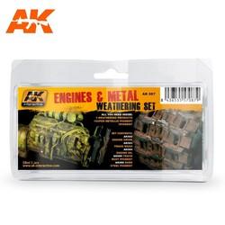 Engines And Metal Weathering - set - AK-Interactive - AK-087