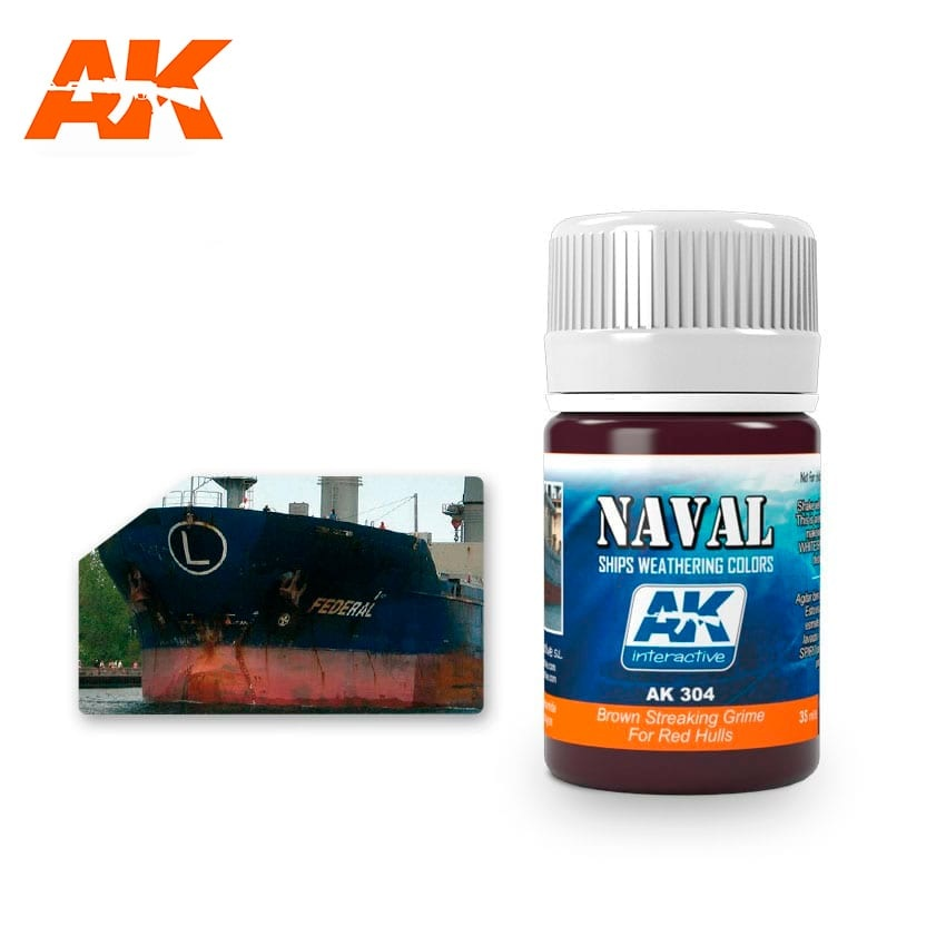 AK-Interactive Brown Streaking Grime For Red Hulls  - 35ml - AK-Interactive - AK-304