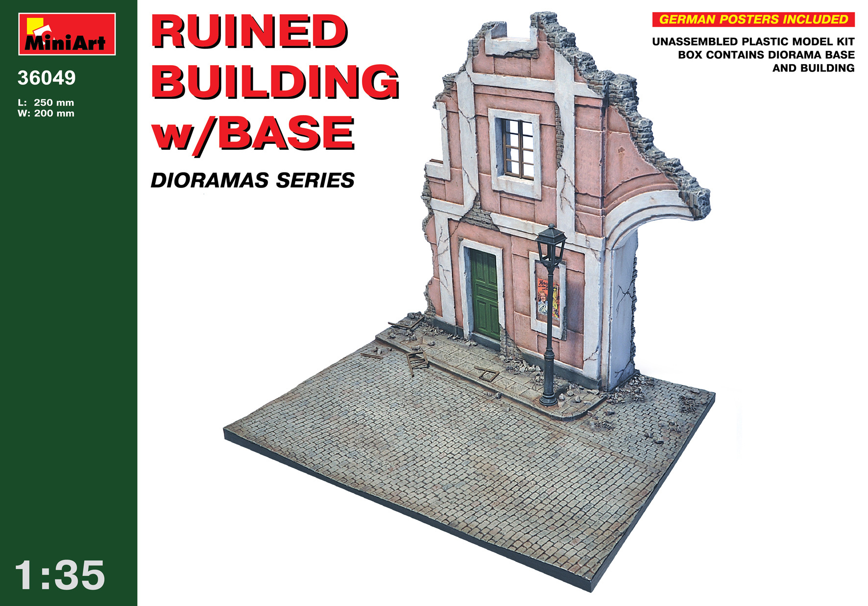 MiniArt Ruined Building With Base - Scale 1/35 - Mini Art - MIT36049