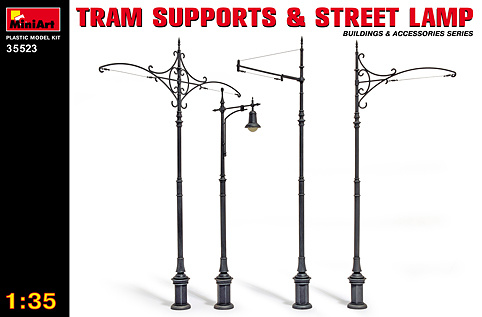MiniArt Tram Supports And Street Lamps - Scale 1/35 - Mini Art - MIT35523