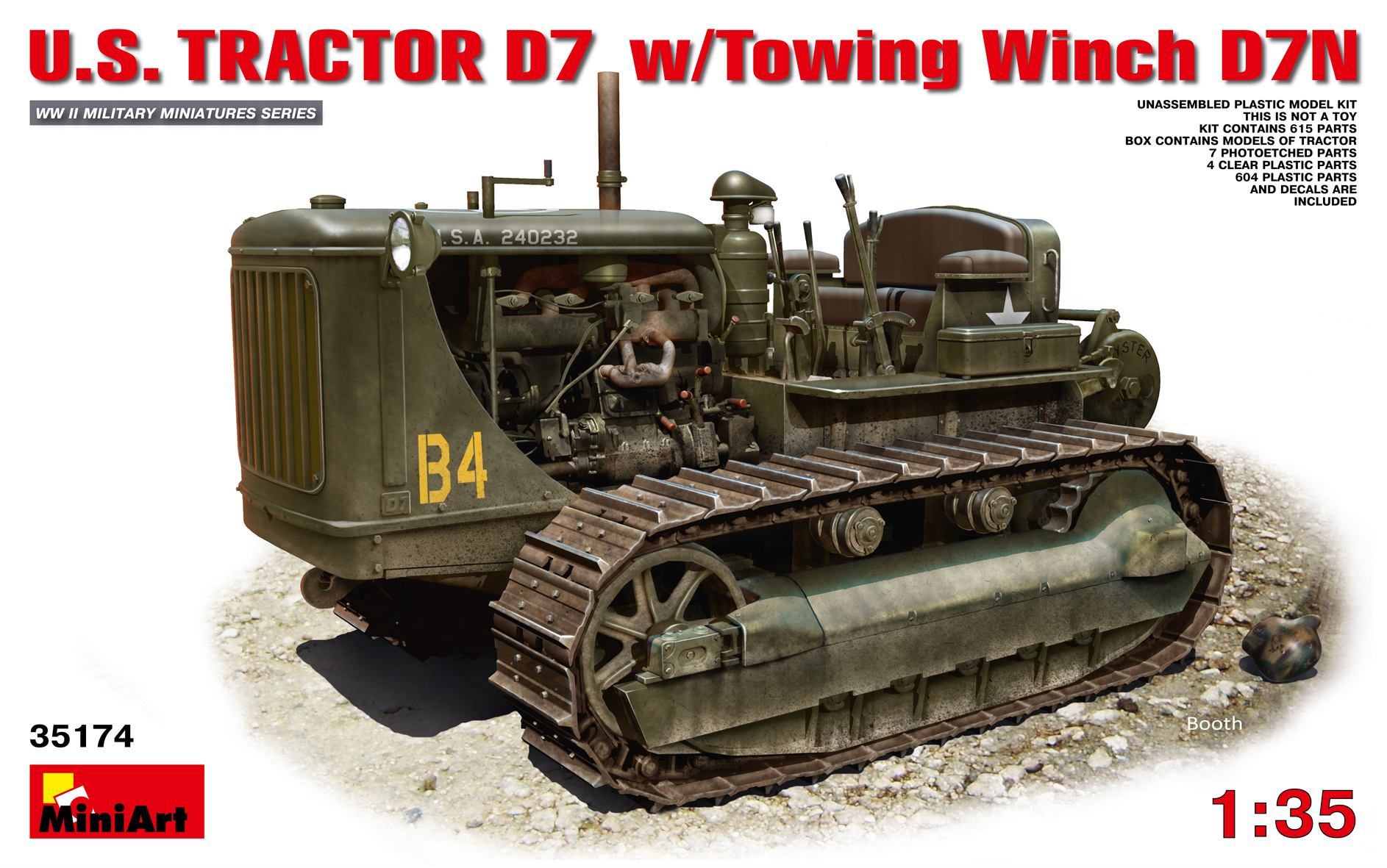 MiniArt U.S.Tractor D7 With Towing Winch D7N - Scale 1/35 - Mini Art - MIT35174