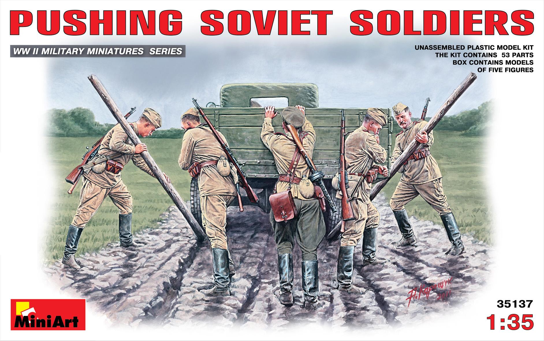 MiniArt Pushing Soviet Soldiers - Scale 1/35 - Mini Art - MIT35137