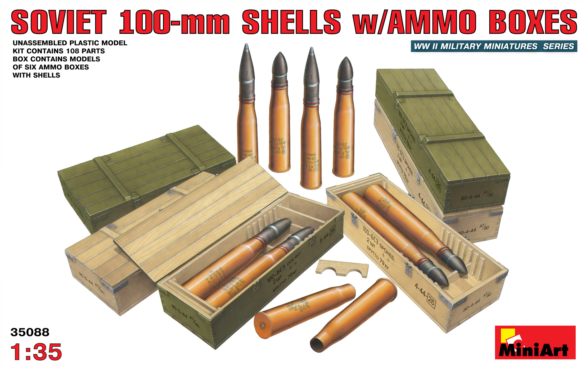 MiniArt Soviet 100-Mm Shells With Ammo Boxes - Scale 1/35 - Mini Art - MIT35088