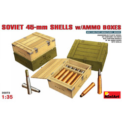 Soviet 45-Mm Shells With Ammo Boxes - Scale 1/35 - Mini Art - MIT35073