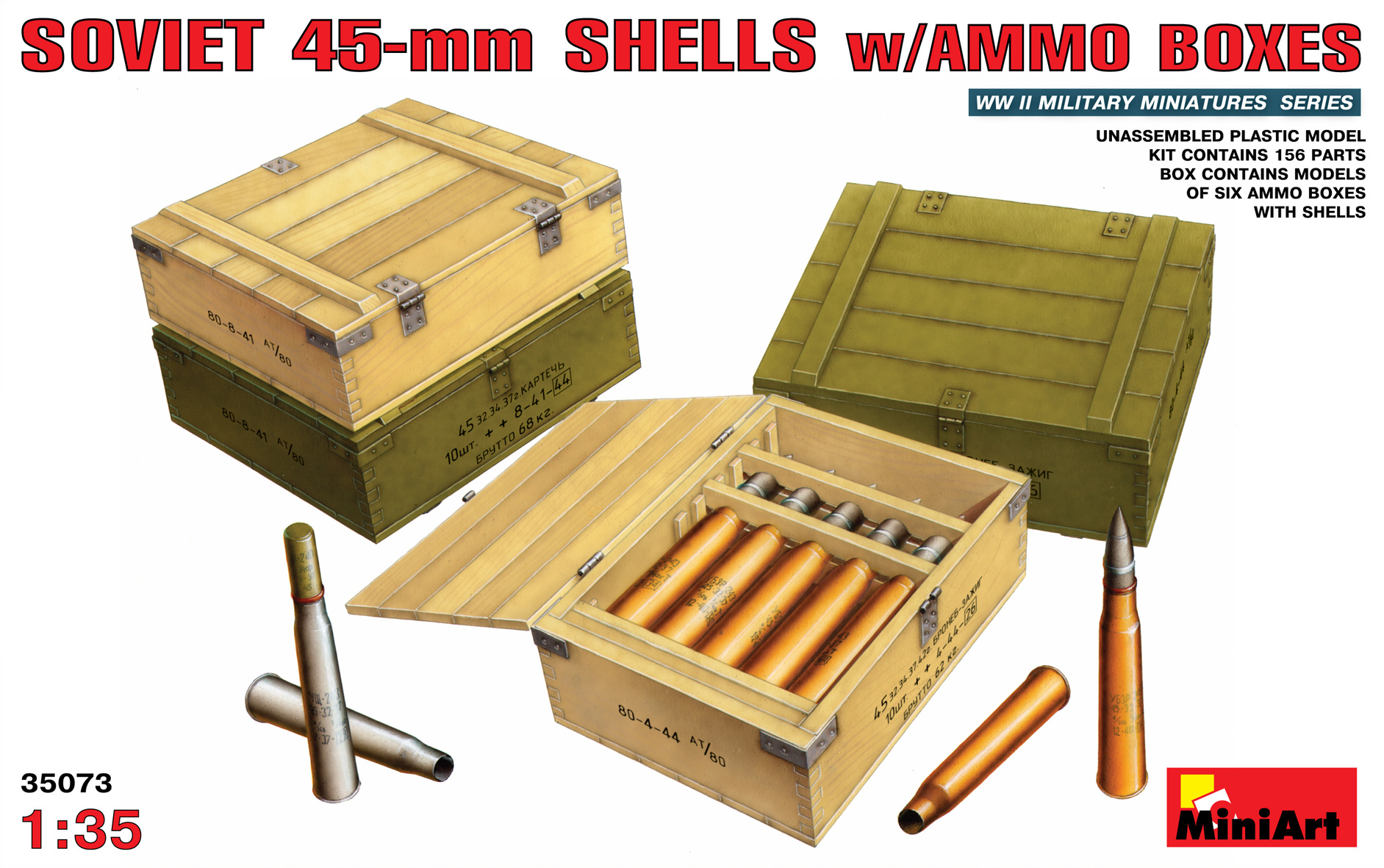 MiniArt Soviet 45-Mm Shells With Ammo Boxes - Scale 1/35 - Mini Art - MIT35073