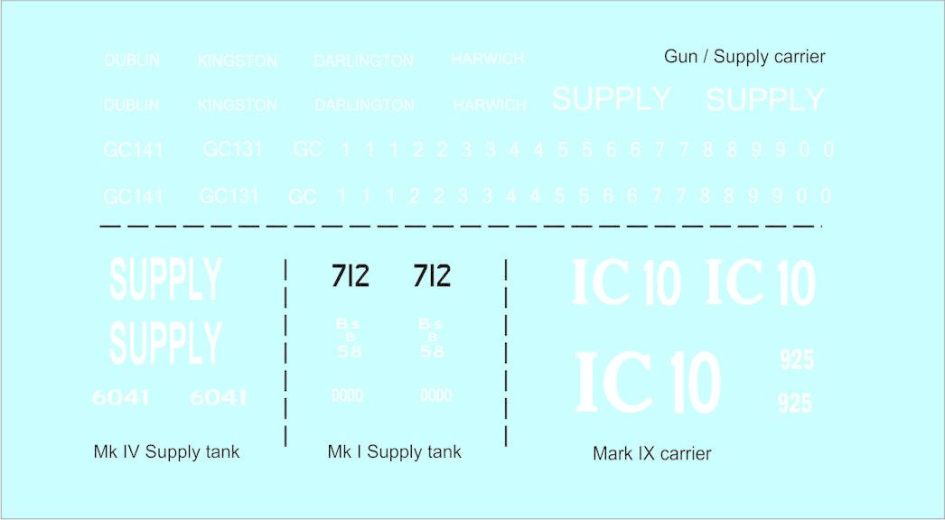 Black Lion Decals World War 1, British Gun + Supply carrier - Scale 1/72 - Black Lion Decals - BLD72002