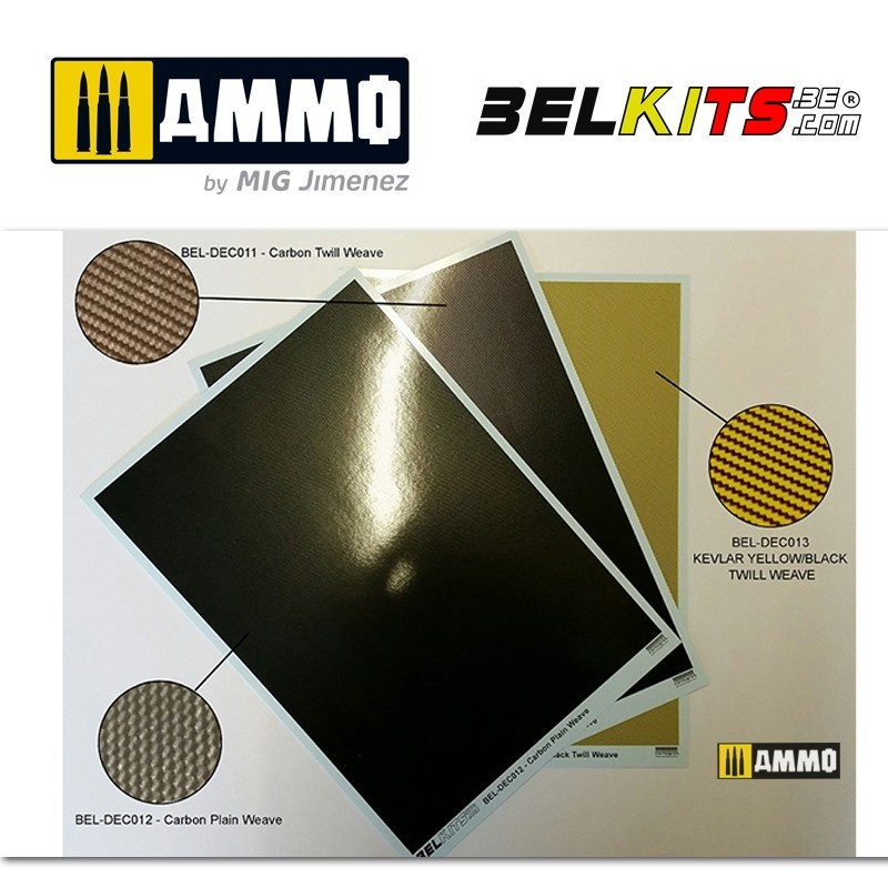 Belkits Carbon Twill Weave (A5 Size Sheet) - Scale 1/24 - Belkits - BELDEC011