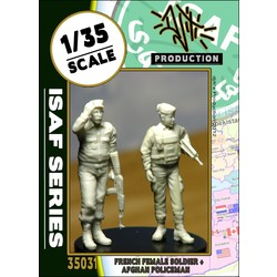 ISAF series ANA policeman with french female soldier - Scale 1/35 - Djiti - DJS35031