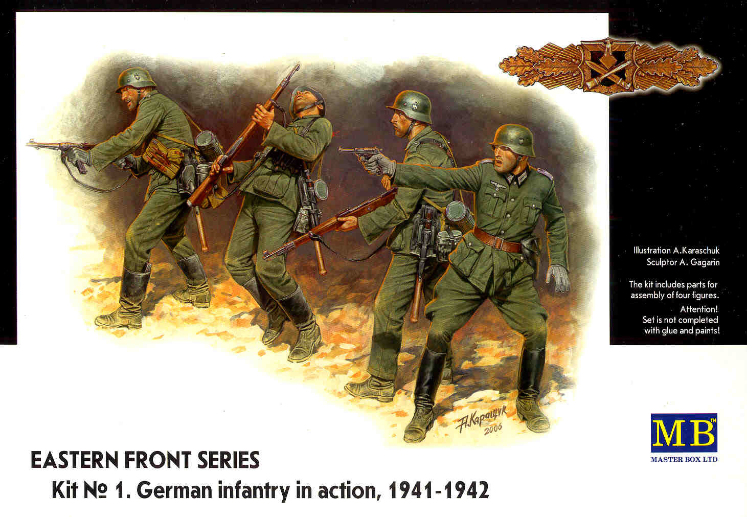Masterbox *Eastern Front Series. Kit № 1. German Infantry in action, 1941-1942* - Scale 1/35 - Masterbox - MBLTD3522