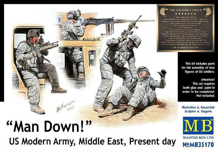 Masterbox *Man Down! US Modern Army, Middle East, Present day* - Scale 1/35 - Masterbox - MBLTD35170