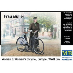*Frau Müller. Woman & Women's Bicycle, Europe, WWII Era* * - Scale 1/35 - Masterbox - MBLTD35166