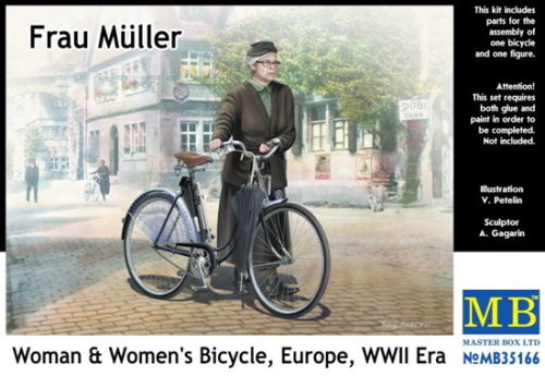 Masterbox *Frau Müller. Woman & Women's Bicycle, Europe, WWII Era* * - Scale 1/35 - Masterbox - MBLTD35166