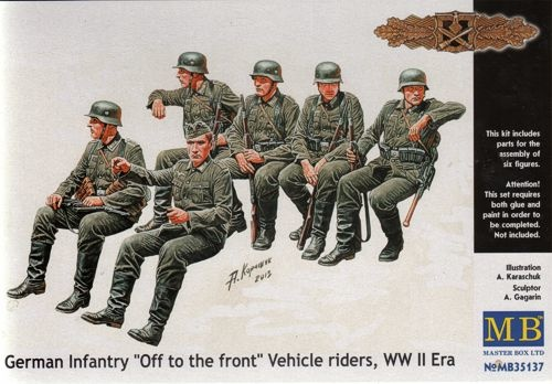 Masterbox *German Infantry *Off to the front* Vehicle riders, WW II Era* - Scale 1/35 - Masterbox - MBLTD35137