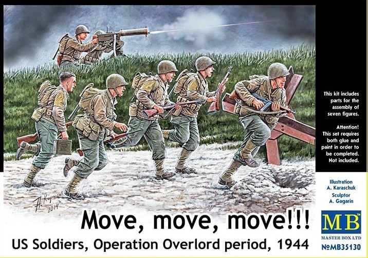 Masterbox  *Move, move, move!!!* US Soldiers, Operation Overlord period, 1944* - Scale 1/35 - Masterbox - MBLTD35130