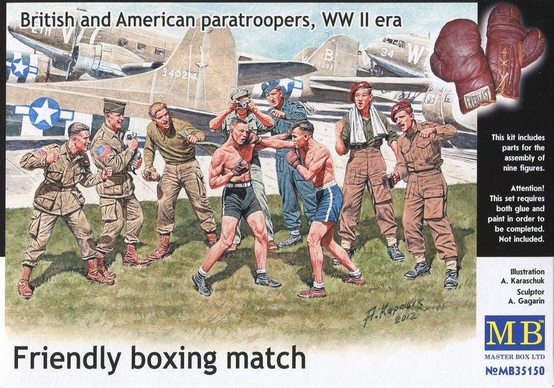 Masterbox Friendly Boxing Match. British and American Paratroopers, WWII Era - Scale 1/35 - Masterbox - MBLTD35150