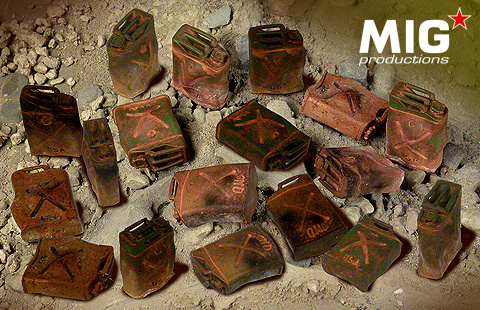 Mig Productions Burnt Out US Jerry Cans - Scale 1/35 - Mig Productions - MIG35-371