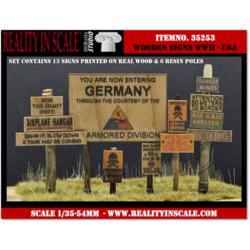 Real Wooden Signs WWII - USA Set 1 - Reality in Scale - RIS 35253