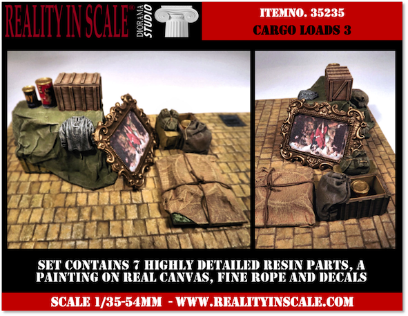 Reality in Scale Cargo Loads Set 3 - 7 resin pcs. decals, rope & painting - Reality in Scale - RIS 35235