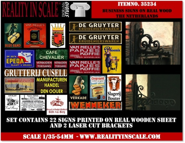 Reality in Scale Business Signs on real wood 1930's - 1950's - The Netherland - Reality in Scale - RIS 35234