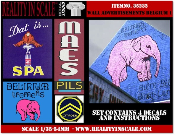 Reality in Scale Wall Advertisement Decals 1930's - 1950's - Belgium set 1 - Reality in Scale - RIS 35232