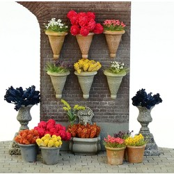 Flower Pot Set - 15 resin pcs. & assorted flowers - Reality in Scale - RIS 35194