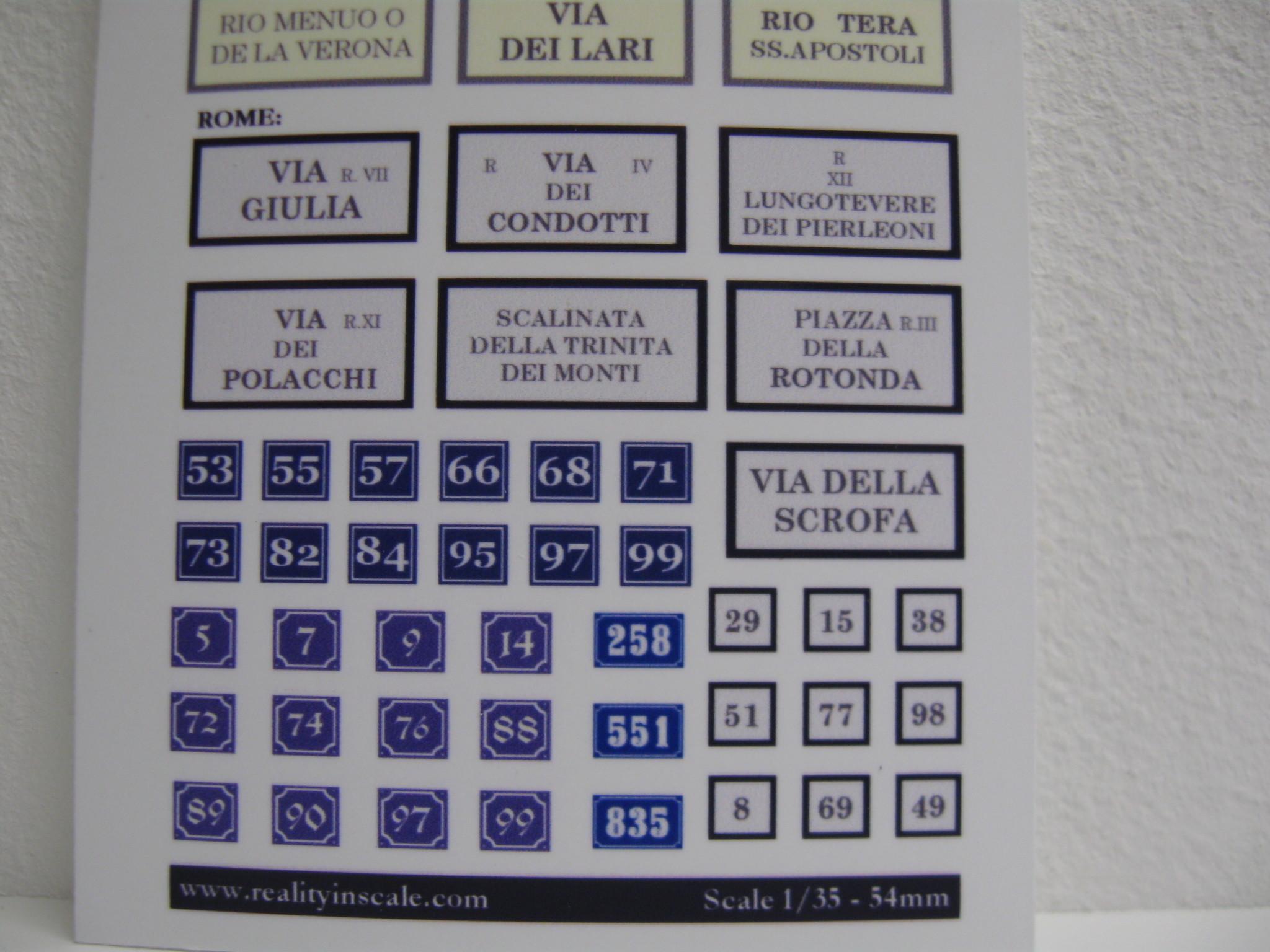 Reality in Scale Enamel Italian Streetsigns - Reality in Scale - RIS 35179
