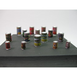Small Food Cans with Labels - 16 resin pcs. & decals - Reality in Scale - RIS 35168
