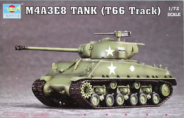 Trumpeter M4A3E8 Tank (T66 Track)  - Scale 1/72 - Trumpeter - TRR 7225