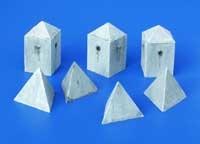 Plus Model Anti-tank Concrete Barriers - Pyramid-style, Set II - Scale 1/35 - Plusmodel - PLL 131