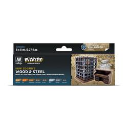 Wizkids set: Wood & Steel - 8 x 8ml - Vallejo - VAL-80256