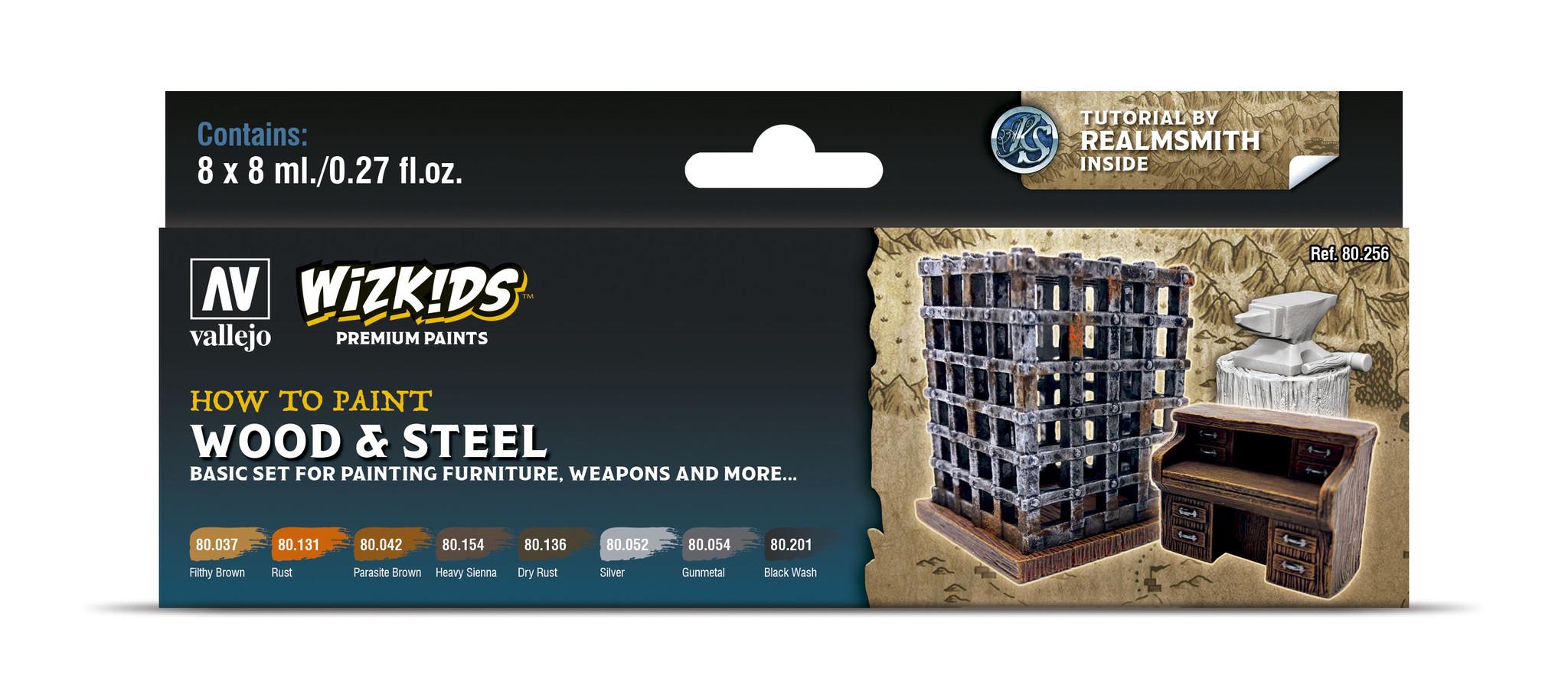 Vallejo Wizkids set: Wood & Steel - 8 x 8ml - Vallejo - VAL-80256