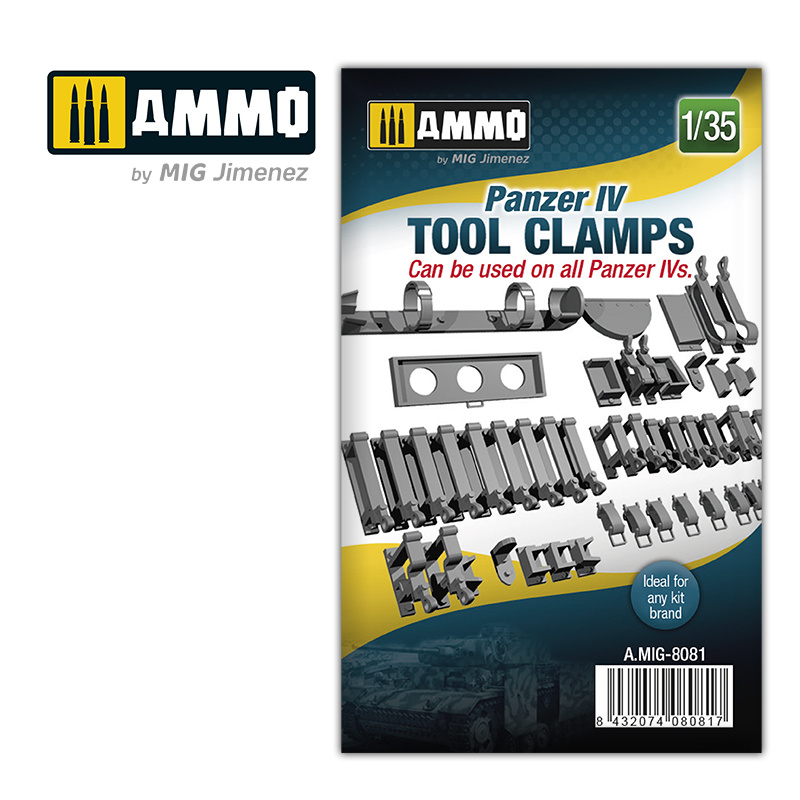 Ammo by Mig Jimenez Panzer IV tool clamps - Scale 1/35 - Ammo by Mig Jimenez - A.MIG-8081