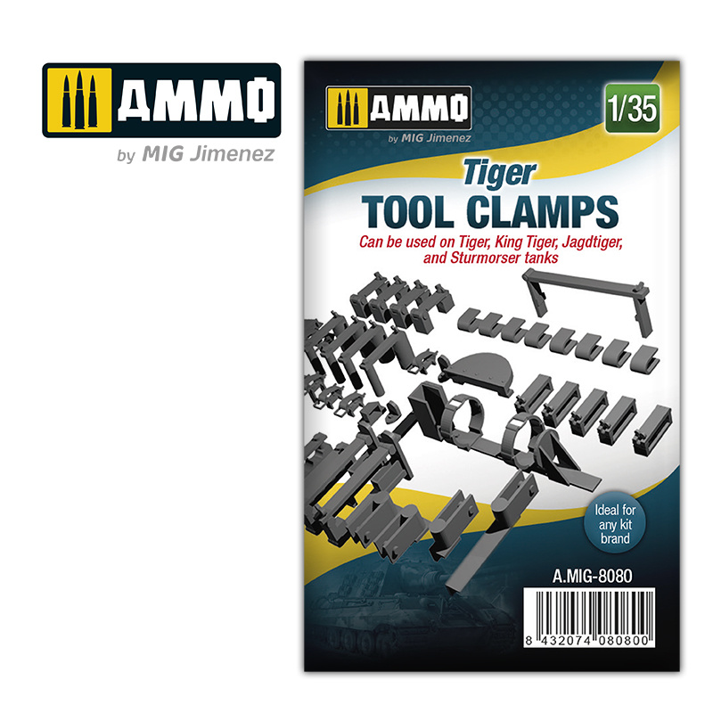 Ammo by Mig Jimenez Tiger tool clamps - Scale 1/35 - Ammo by Mig Jimenez - A.MIG-8080
