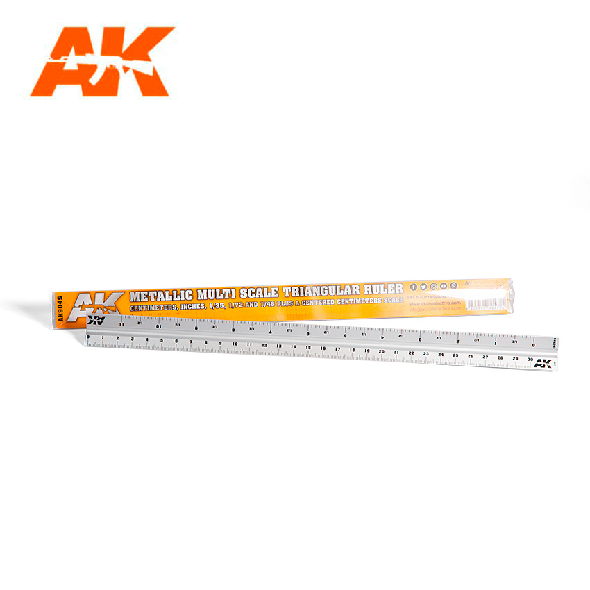 AK-Interactive Metallic Multi Scale Triangular Ruler - AK-Interactive - AK-9049