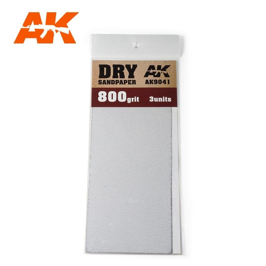 AK-Interactive Dry Sandpaper 800 Grit. 3 Stuks - AK-Interactive - AK-9041