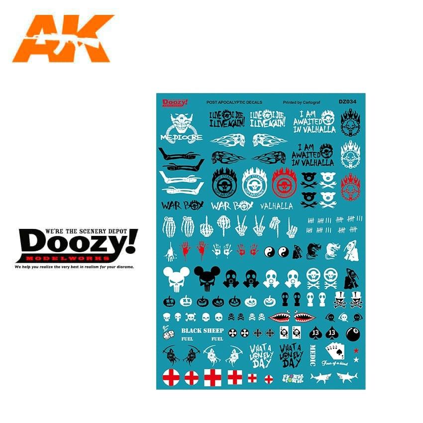 Doozy Assorted Post Apocalyiptic Decals - Scale 1/24 - Doozy - DZ034