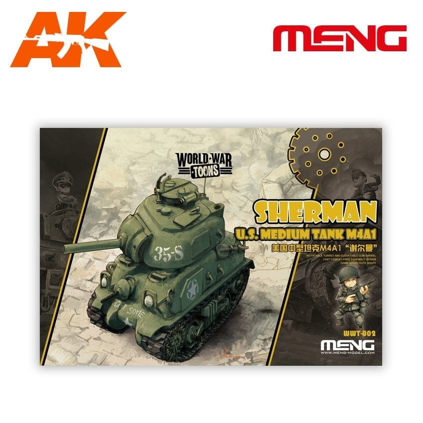 Meng Models Sherman U.S. Medium Tank M4A1 - Cartoon Model - Meng Models - MM Wwt-002
