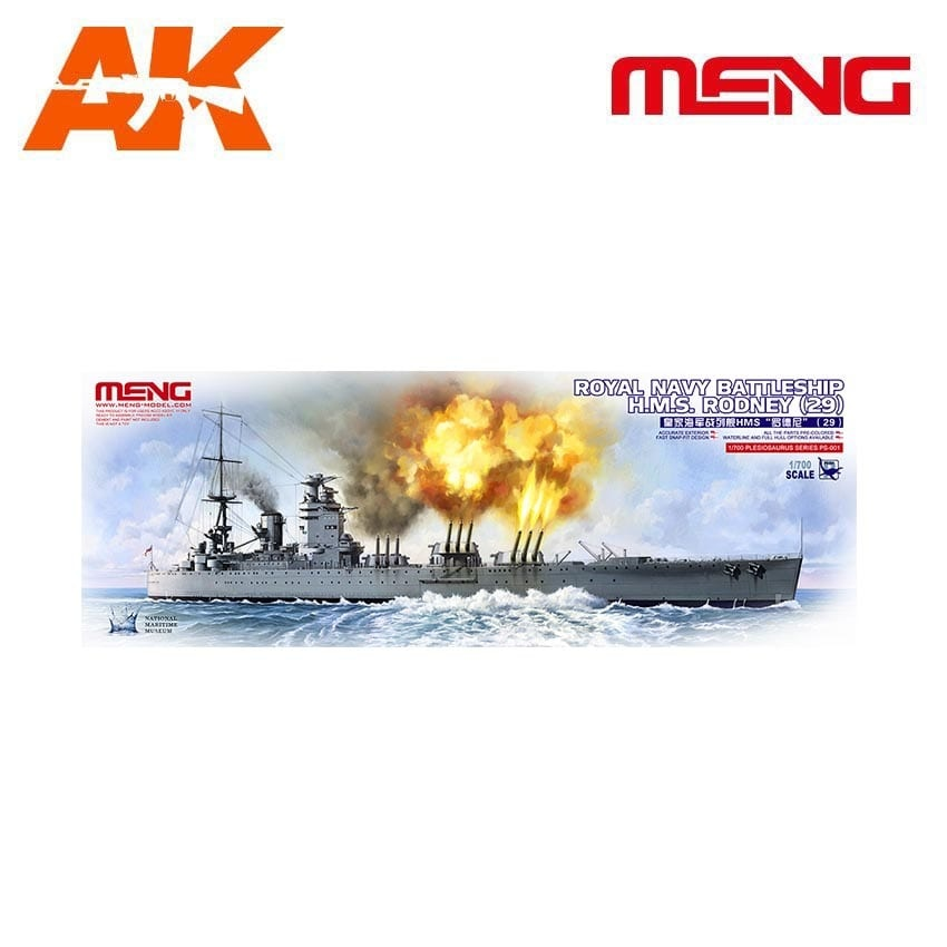 Meng Models Royal Navy Battleship H.M.S. Rodney - Scale 1/700 - Meng Models - MM PS-001
