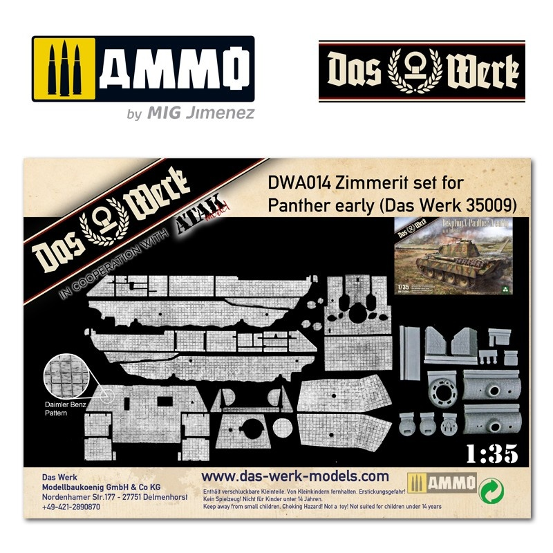 Das Werk Zimmerit Set für Panther early (DB pattern) - Scale 1/35 - Das Werk - DWA014