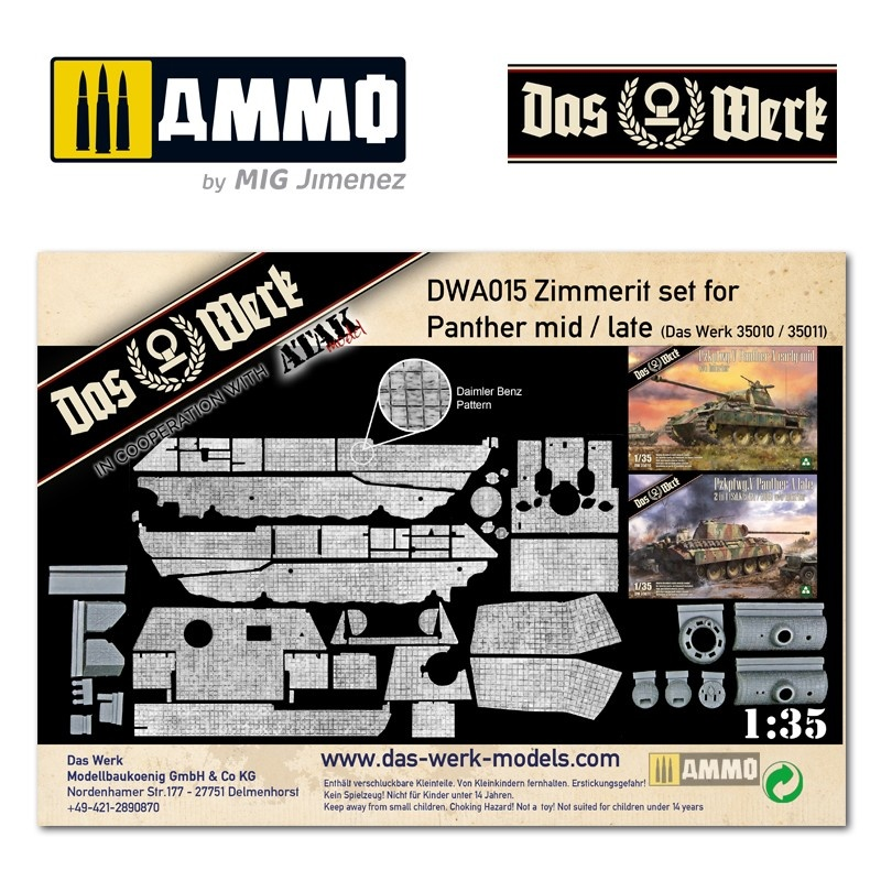Das Werk Zimmerit Set für Panther mid/late (DB pattern) - Scale 1/35 - Das Werk - DWA015