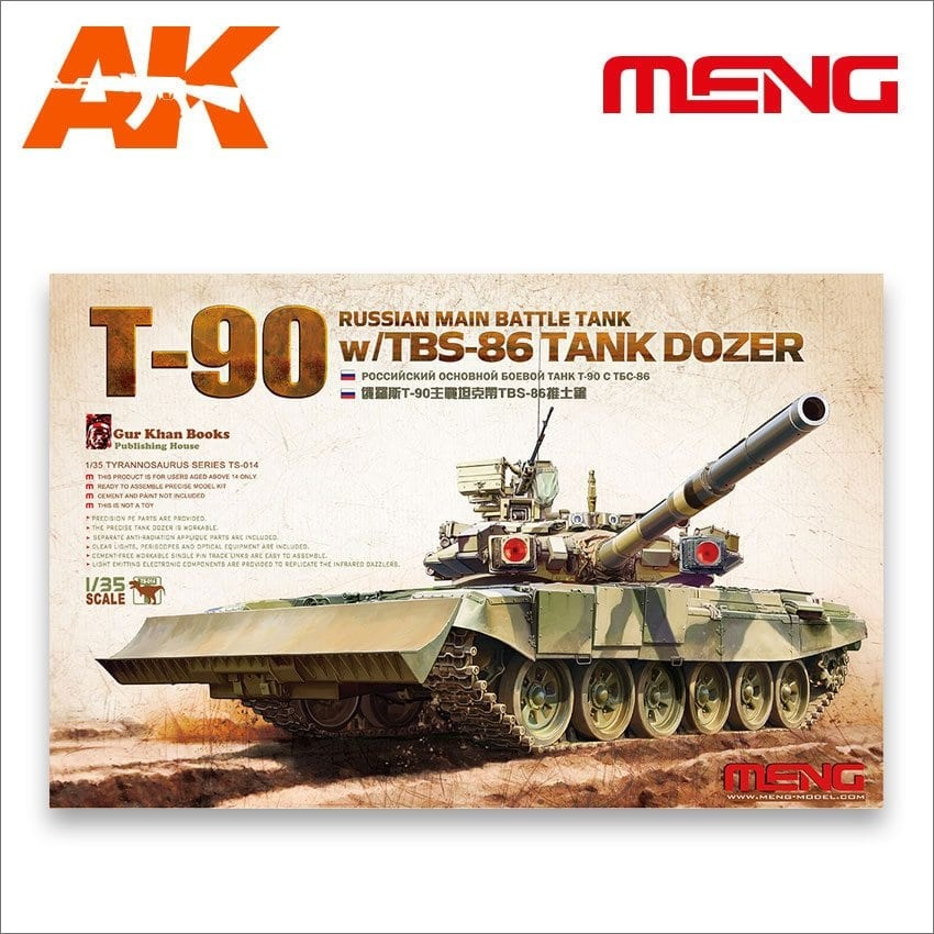 Meng Models Russian Main Battle Tank T-90 w/TBS-86 Tank Dozer - Scale 1/35 - Meng Models - MM TS-014
