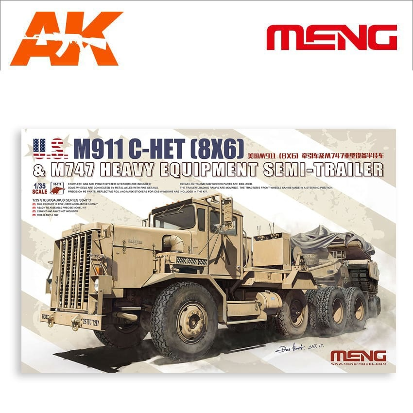 Meng Models U.S. M911 C-HET (8X6) & M747 Heavy Equipment Semi-Trailer - Scale 1/35 - Meng Models - MM SS-013