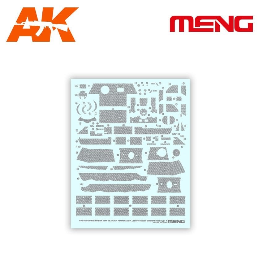 Meng Models Decal Type 4 – German Medium Tank Sd.Kfz.171 Panther Ausf.A Late - Scale 1/35 - Meng Models - Mm Sps-053