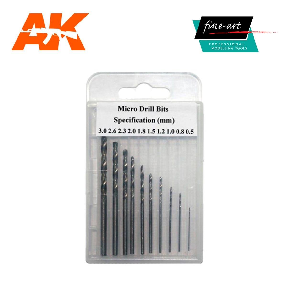 Fine Art Modellers Drills 0.5mm - 3.0mm - Fine Art - FA 521