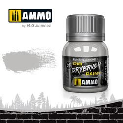 Drybrush Light Grey - 40ml - Ammo by Mig Jimenez - A.MIG-0601