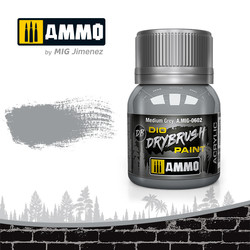 Drybrush Medium Grey - 40ml - Ammo by Mig Jimenez - A.MIG-0602